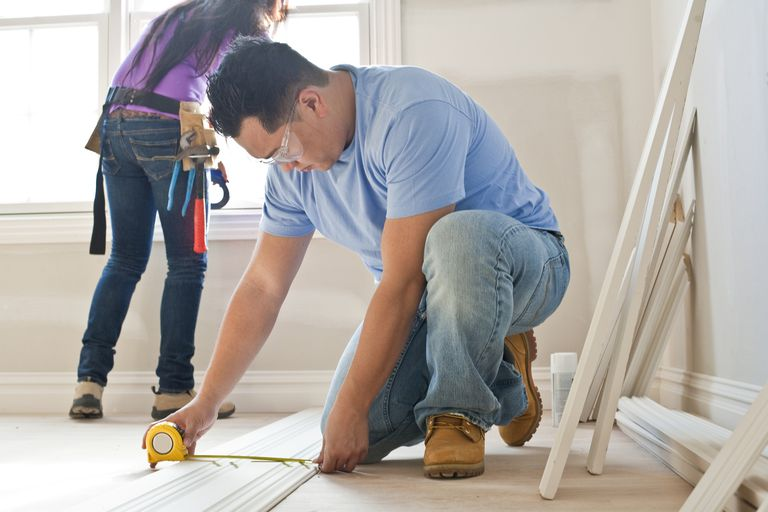 Couple doing DIY at home