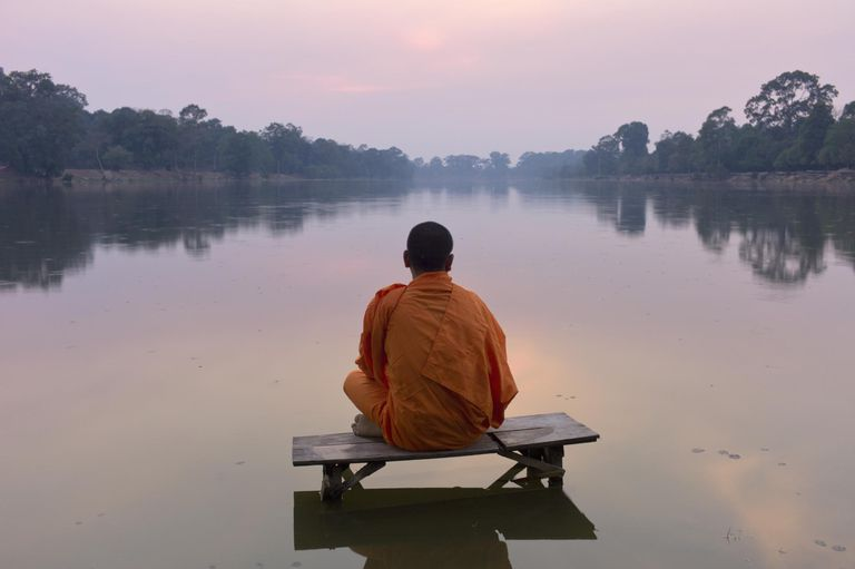 Angkor Wat, Buddhist monk at sunset