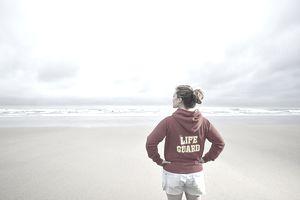 Lifeguard looking at the ocean