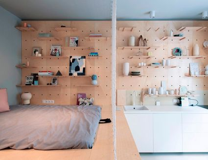 This Studio Apartment has an Amazing Peg Board Storage Wall. Closets  Organization