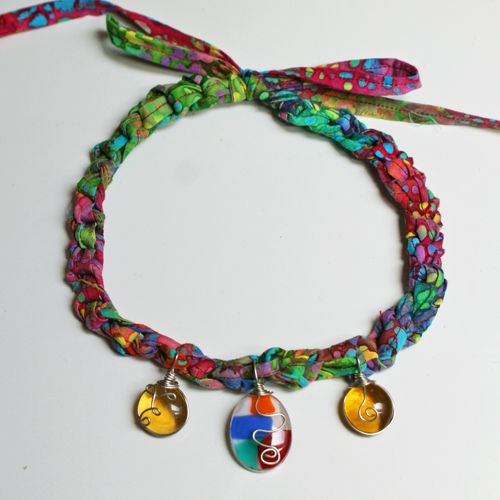 Crochet Fabric Necklace With Wire-Wrapped Pendants