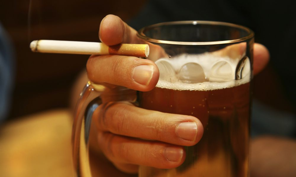 Man With Drink, Cigarette