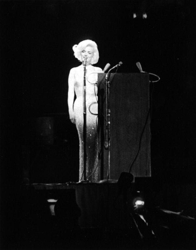 Marilyn Monroe singing Happy Birthday to JFK at Madison Square Garden.