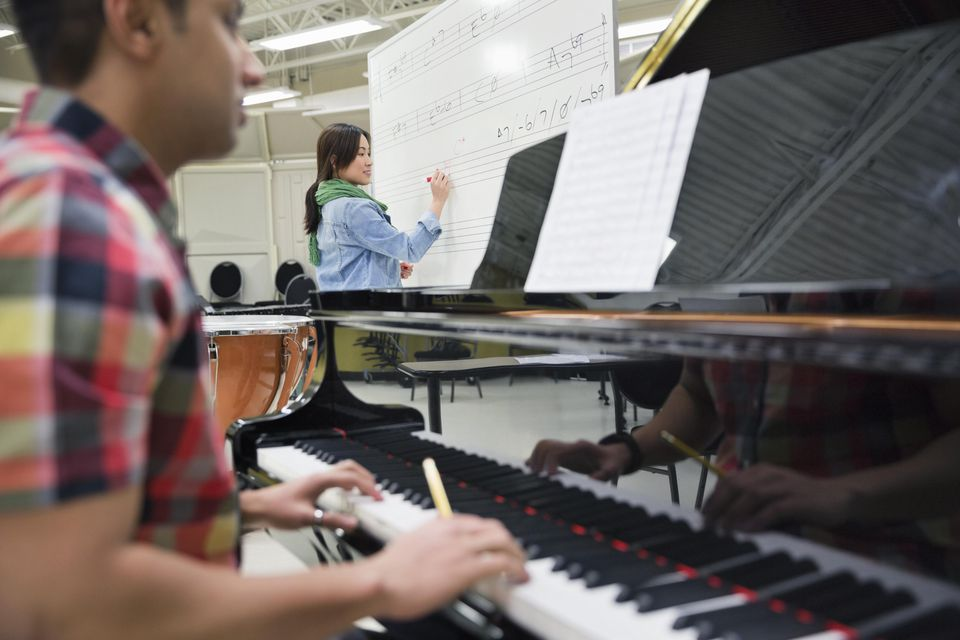 Students working in music room at college campus