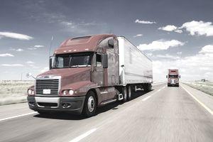 Tractor-trailer on interstate highway