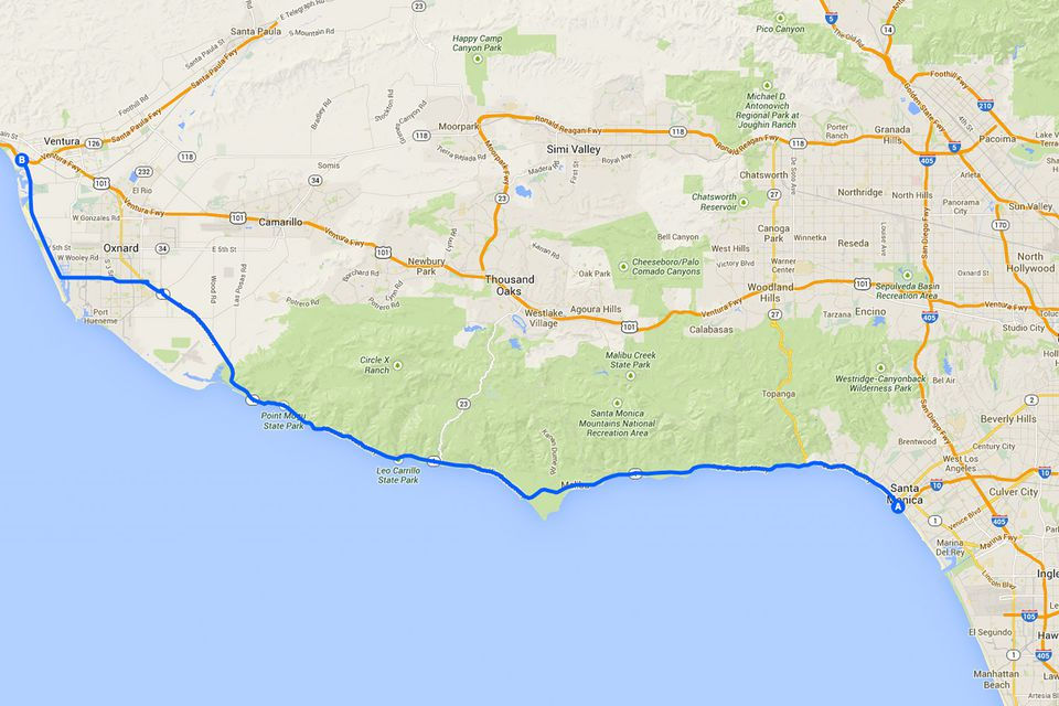 Driving Route From Santa Monica To Oxnard And Us 101