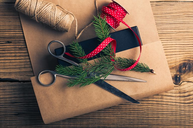 christmas gift being wrapped