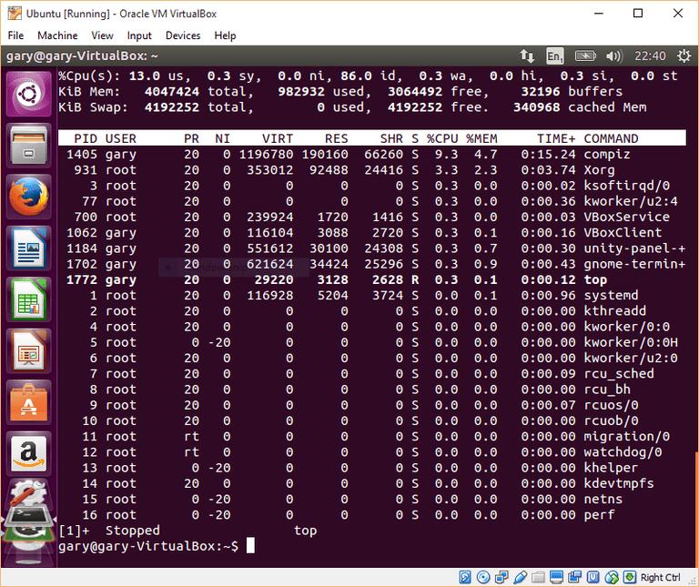 Top option linux