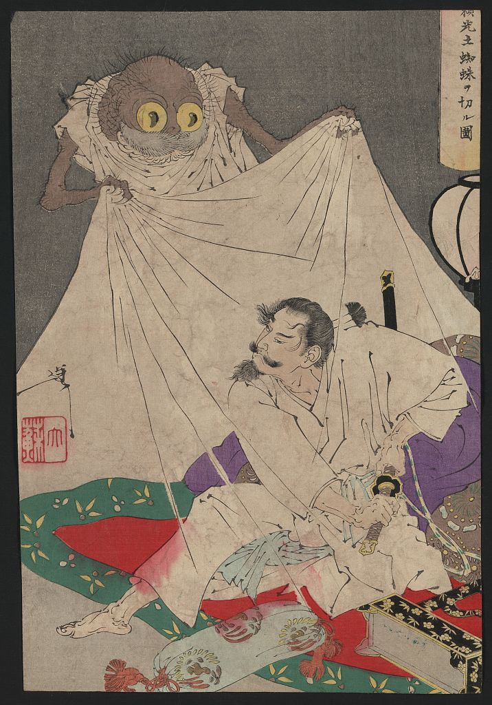 The samurai seems to have been awakened by the spider