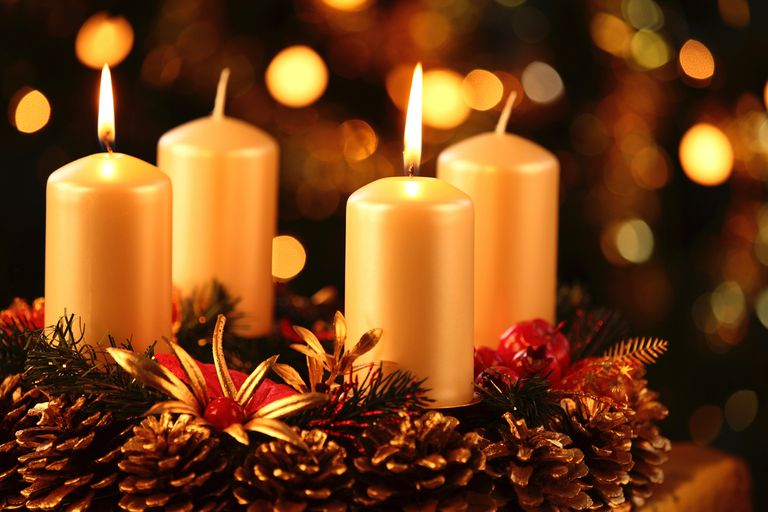 Advent wreath with two burning candles.