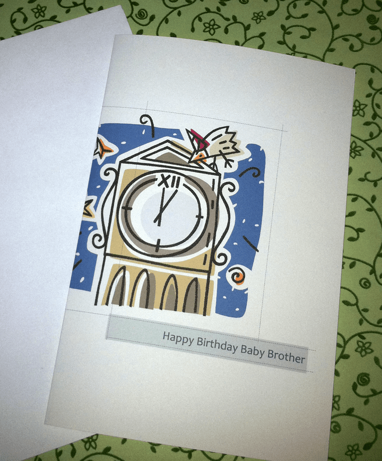 The finished, printed, and folded greeting card created in Publisher 2010.