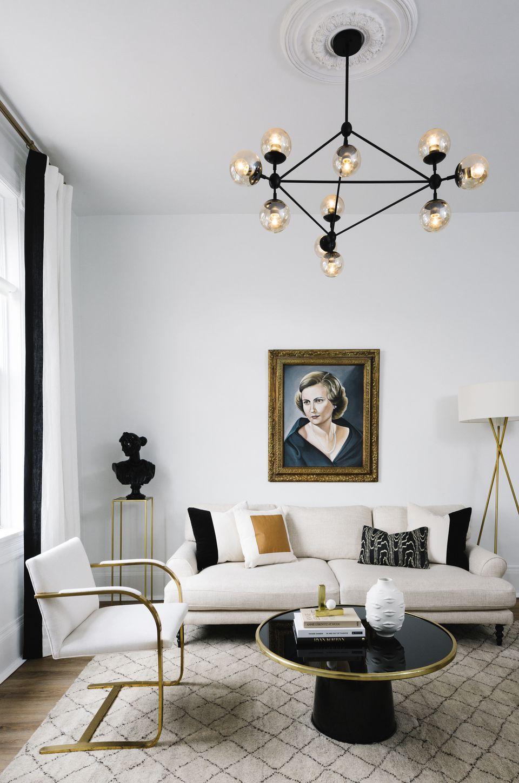 black white gold modern glam living room