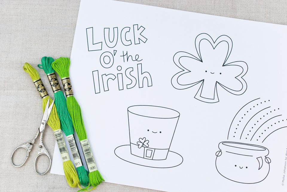 St. Patrick's Day Kawaii Embroidery Patterns