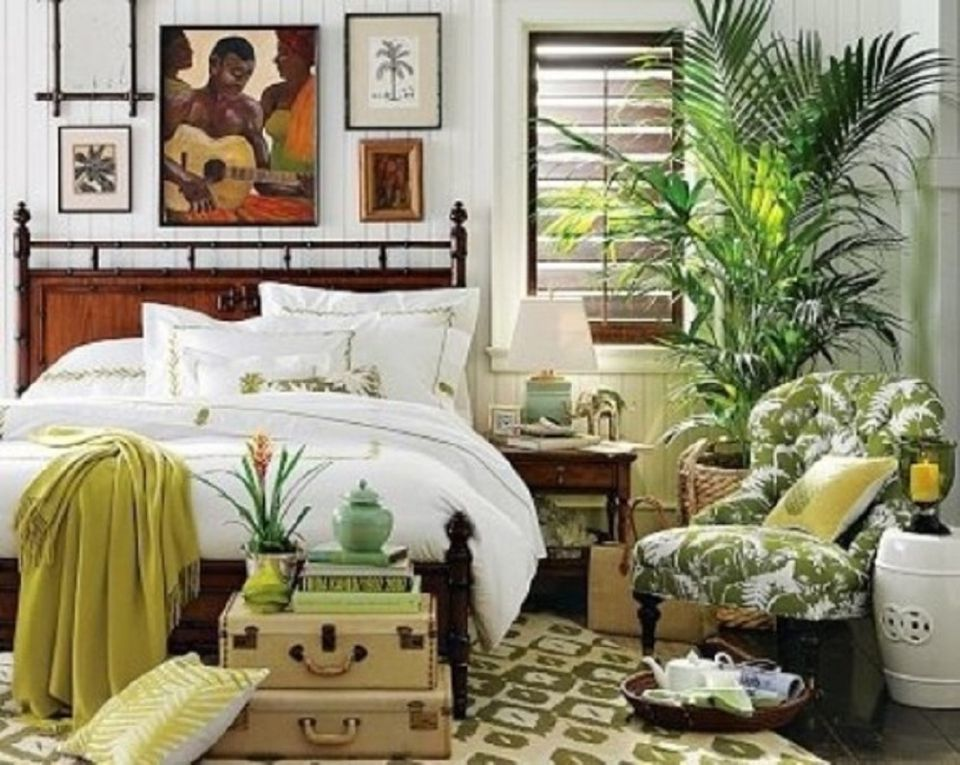 green bedroom design ideas. Boho bedroom with lots of plants  Green Bedroom Photos and Decorating Tips