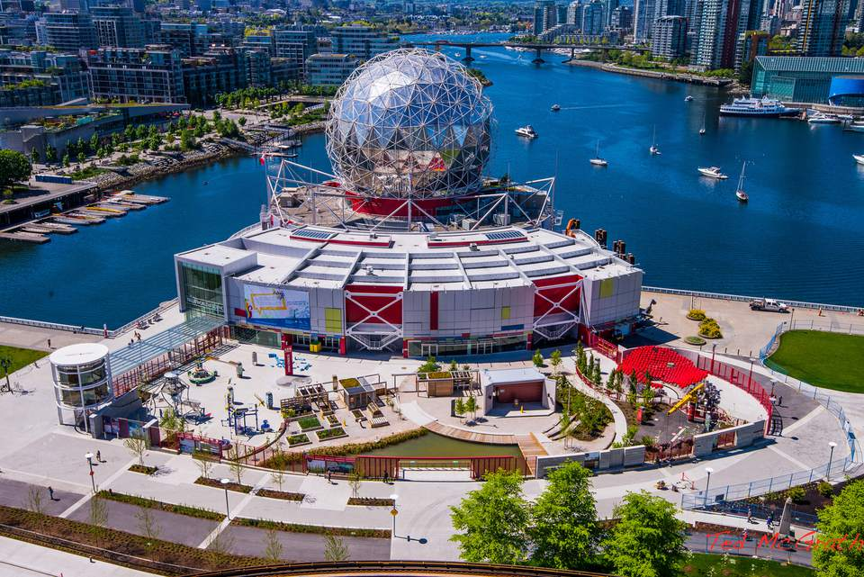 Exterior of Science World in Vancouver, BC
