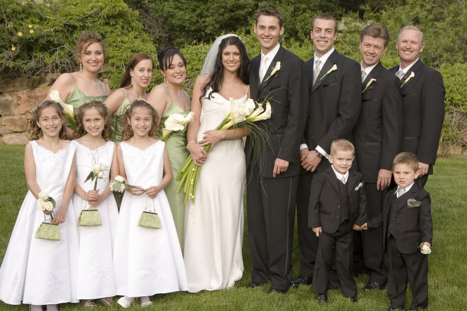 Bride, groom and wedding party, portrait
