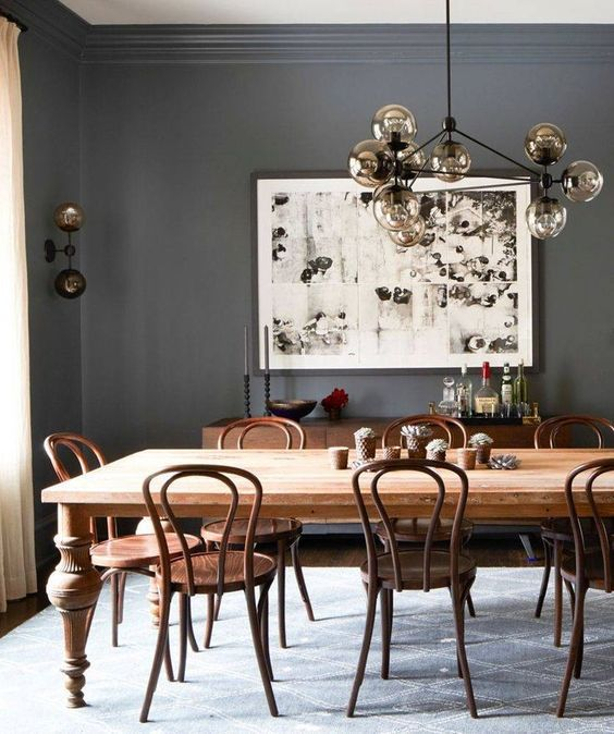 Wood Tones In A Gray Dining Room
