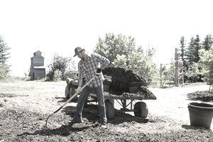 man tilling soil