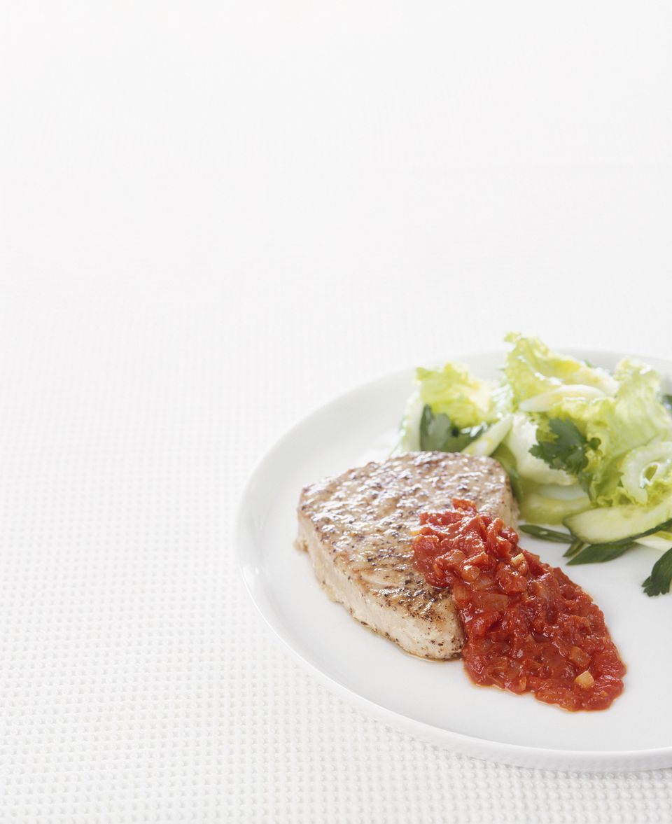 Grilled Tuna Steaks with Roasted Red Pepper Sauce