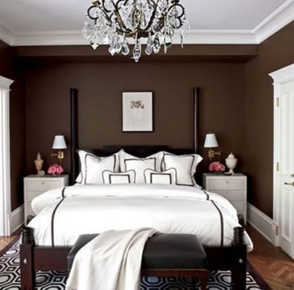 brown and white bedroom - Small Master Bedroom Design