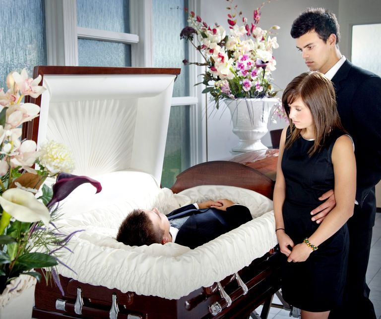 Mourners at funeral visitation