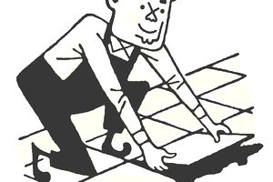 Drawing of worker laying floor tiles
