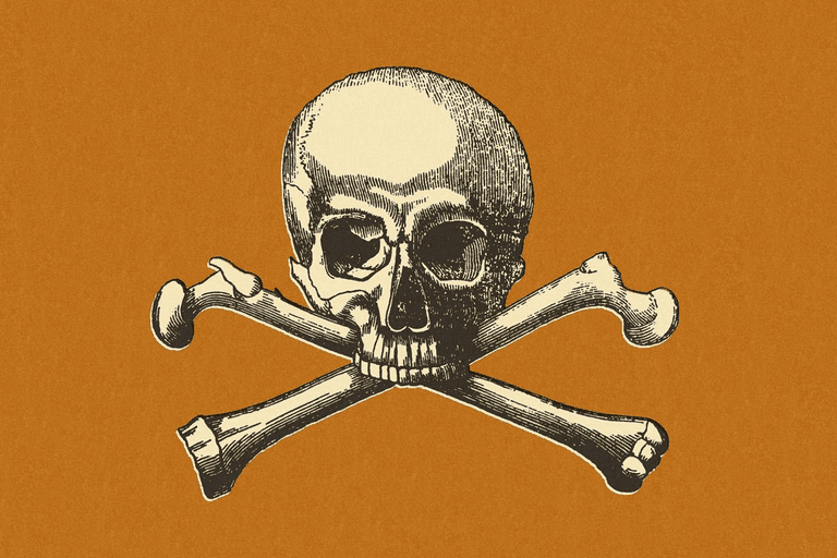 Picture of a skull and crossbones on an orange background