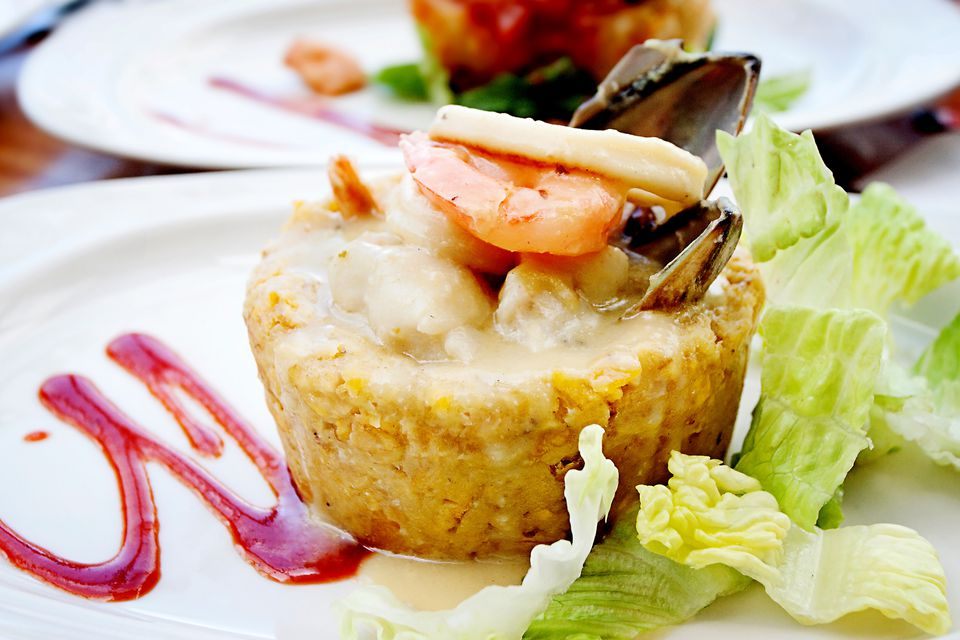 seafood mofongo with plantains