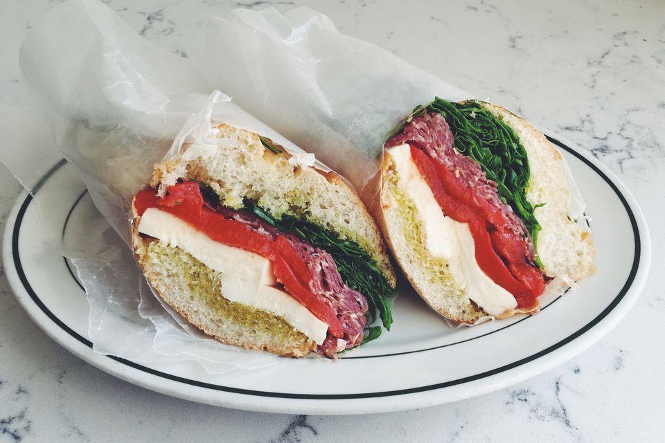 Salami, Mozzarella + Roasted Red Pepper Sandwich