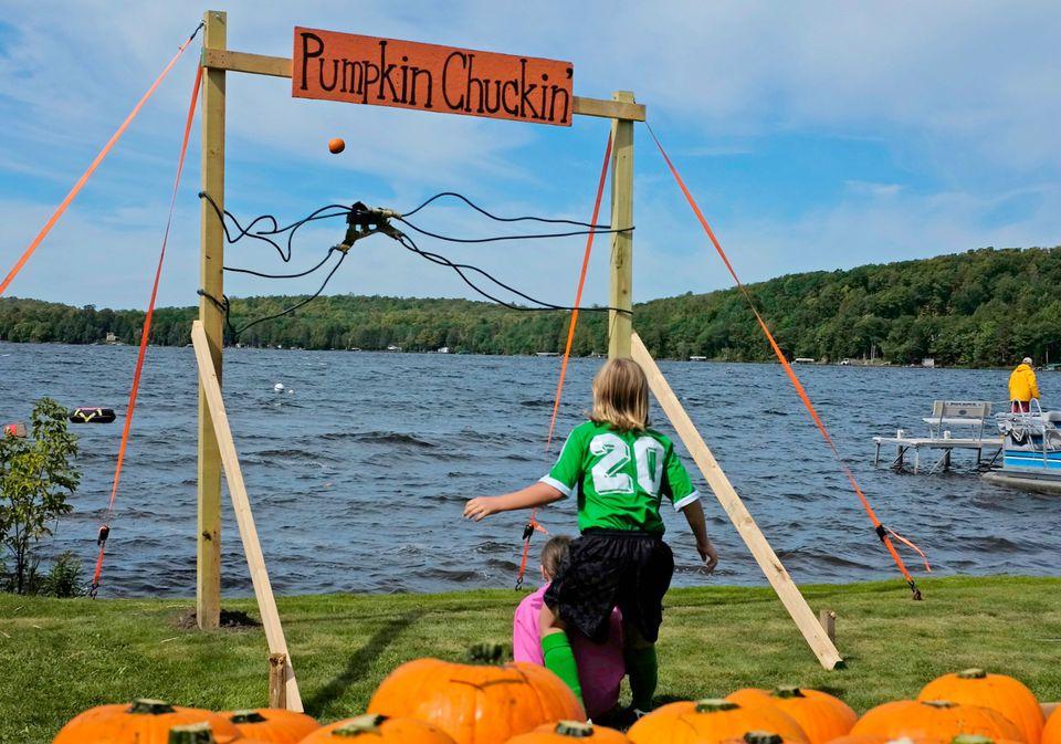 Pumpkin Chucking   Halloween Fun