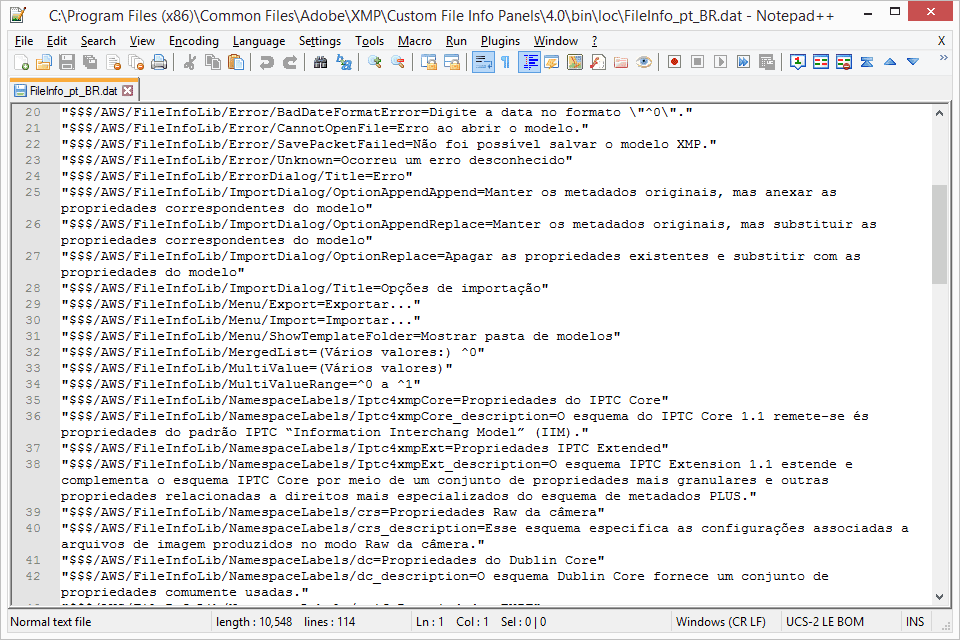 Screenshot of a DAT text file called FileInfo_pt_BR.dat