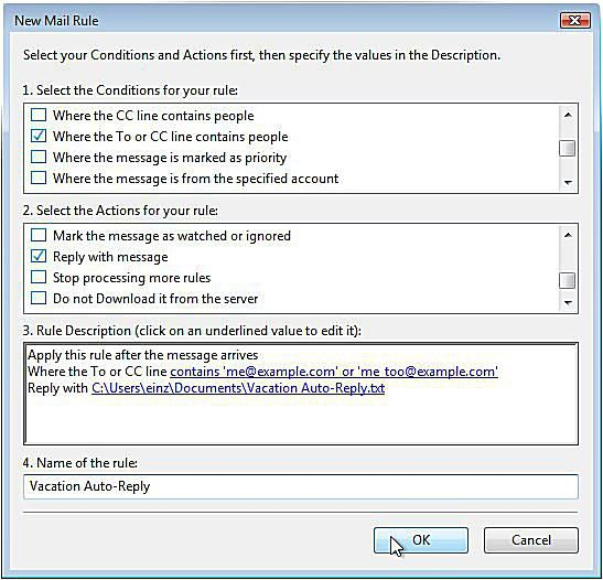 Set Up a Vacation Auto-Response in Windows Mail or Outlook