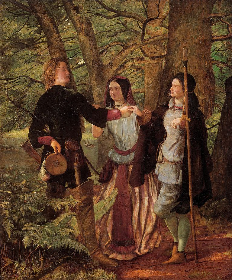 As You Like It - The Mock Marriage of Orlando and Rosalind. Painting by Deverell Walter Howard (1853)
