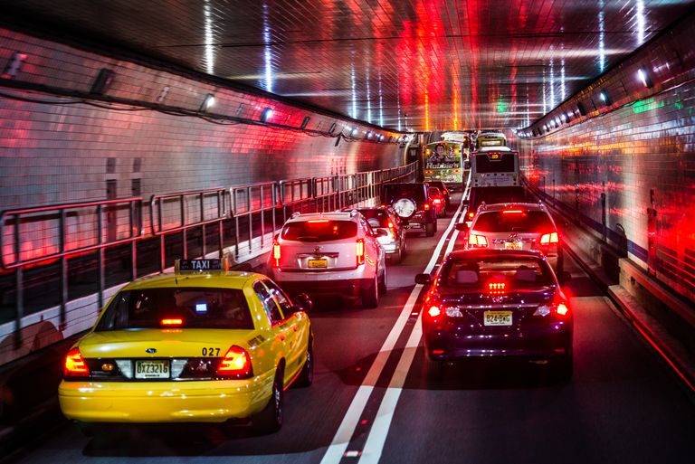 Traffic traveling through Holland Tunnel