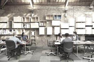 A team of professionals work on project in office