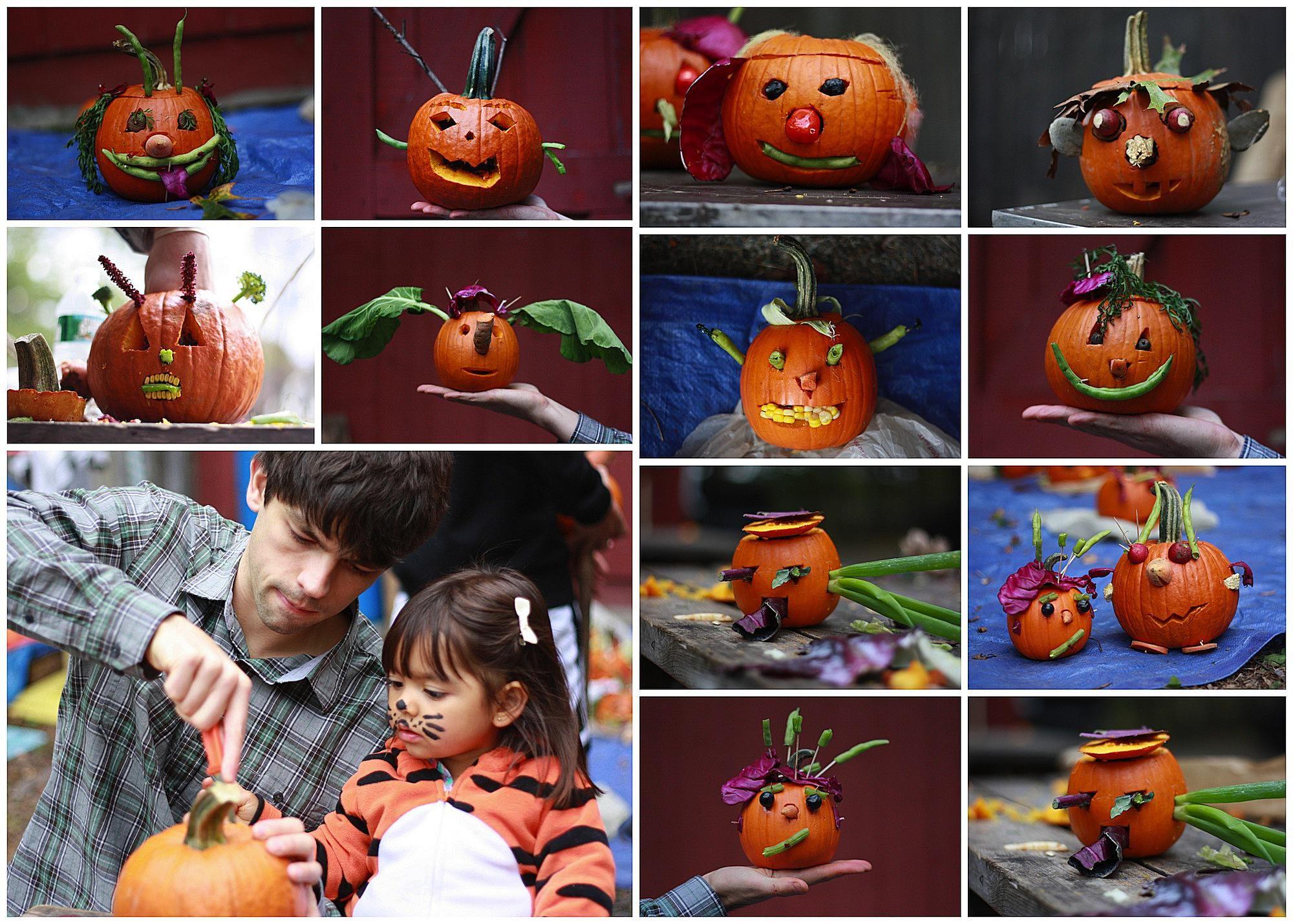 Una ingeniosa forma de decorar tus calabazas for Puertas decoradas halloween calabaza