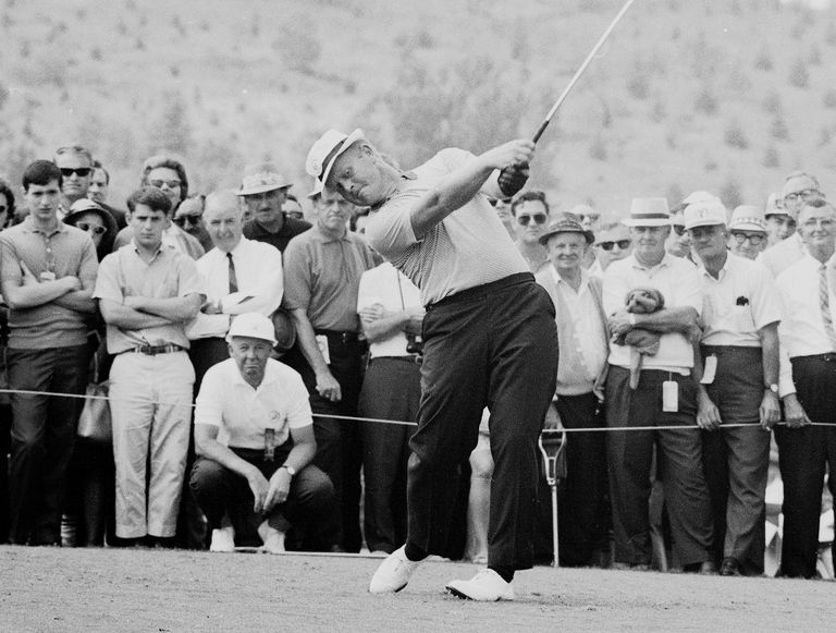 Jack Nicklaus tees off during the 1965 PGA Championship