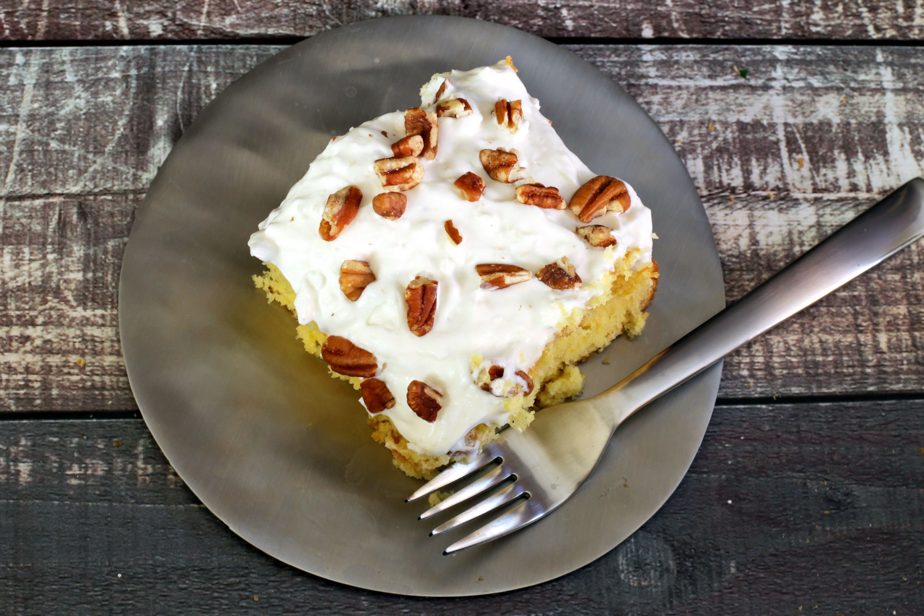 Pina Colada Cake With Coconut Whipped Topping