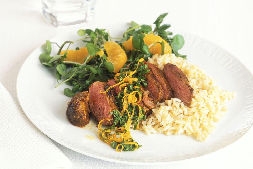 orange rice and steak