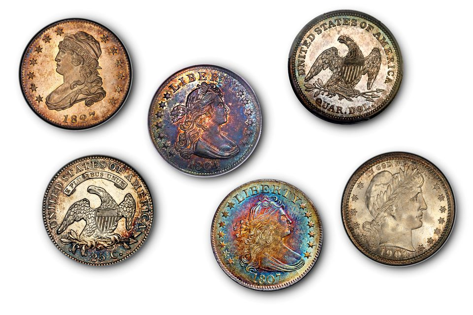 six of the world's most valuable United States quarters.