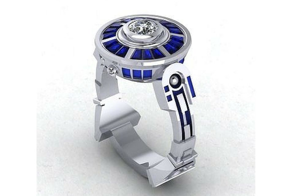 wedding lightsaber luxury nerdy rings