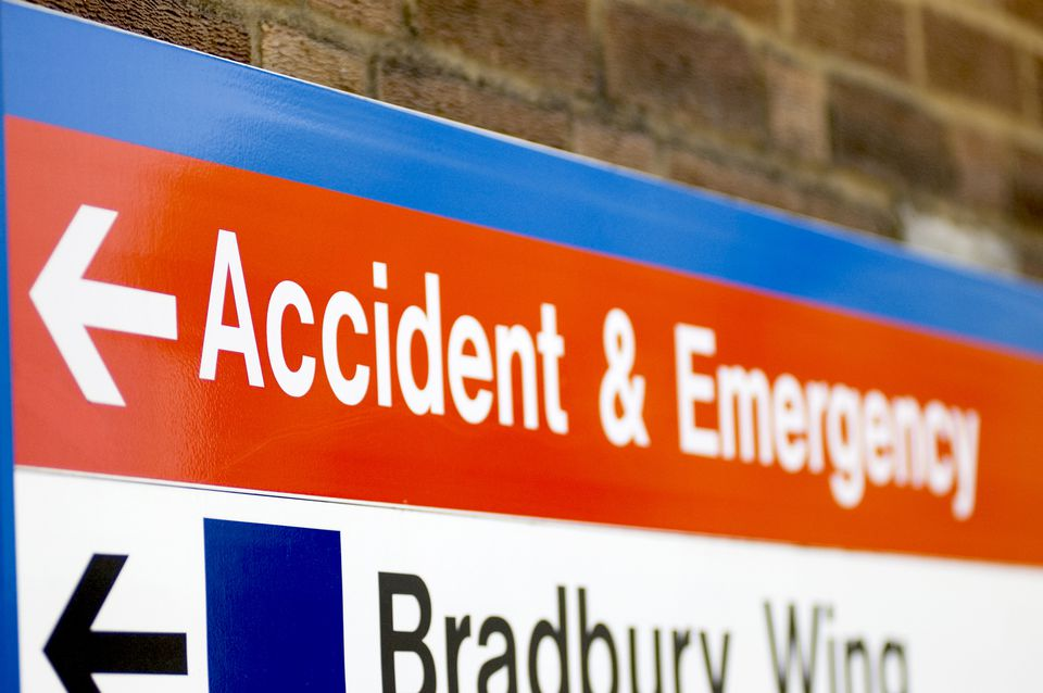 Hospital sign pointing to accident & emergency