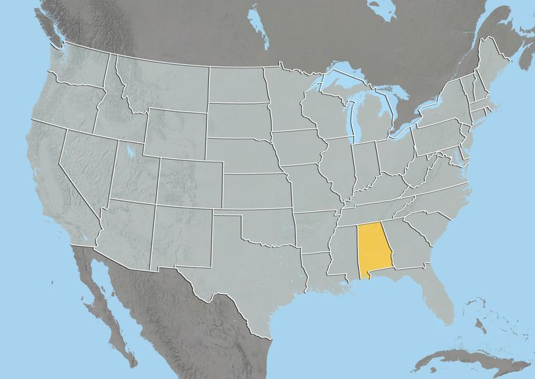 map of United States with Alabama highlighted