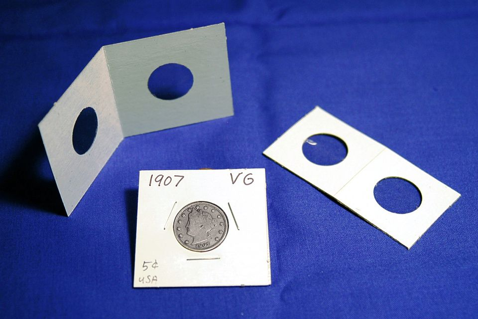 Two inch by two inch Cardboard Coin Holder
