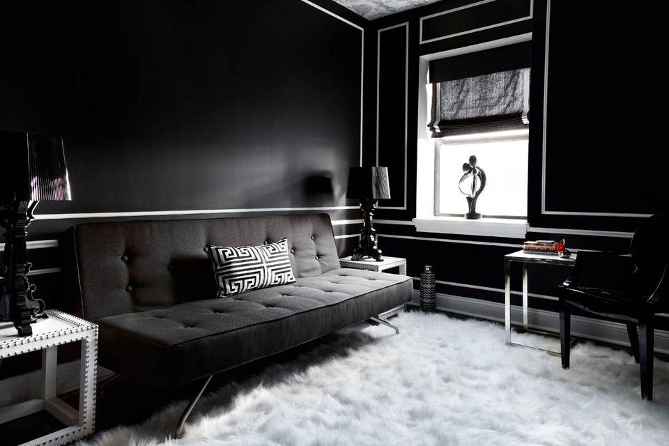 jet black modern living room