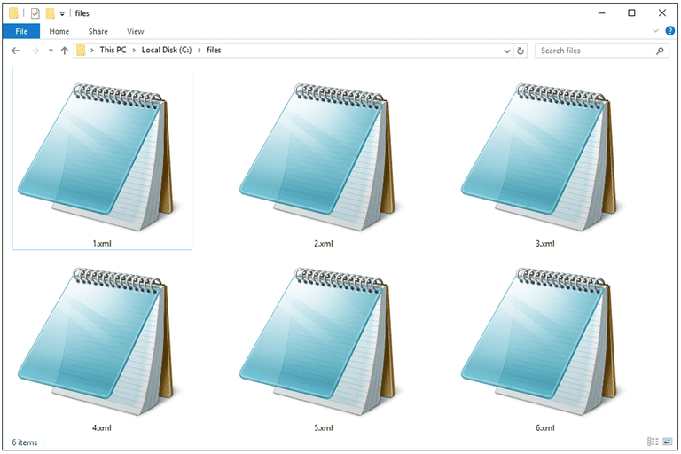 Screenshot of several XML files in Windows 10