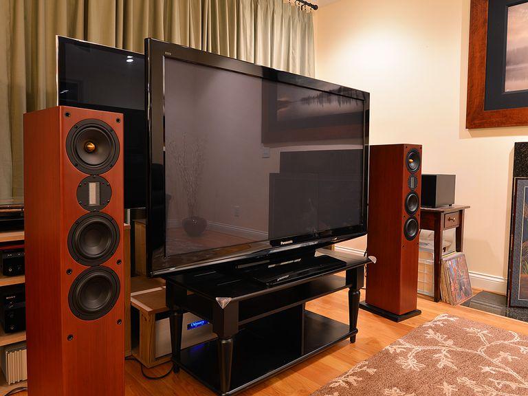 A modern plasma TV in a home theatre