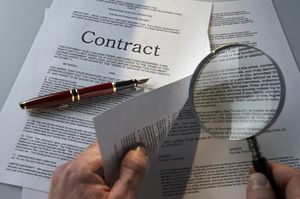 Image of a person reading a contract.