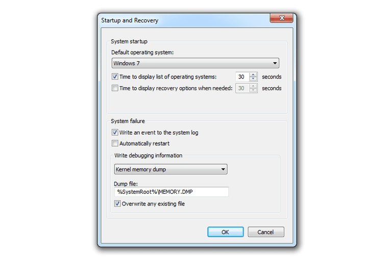 Screenshot of the 'automatically restart' option disabled in the Windows 7 Startup and Recovery screen
