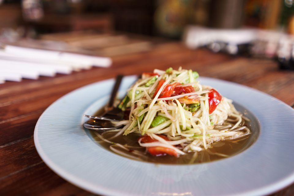 Papaya Salad (som tam) in North Eastern Thailand